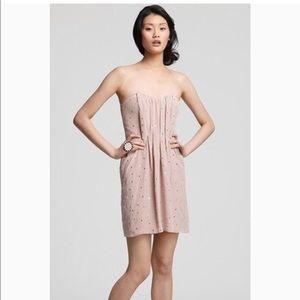 Rebecca Taylor Mirrored Strapless Silk Dress